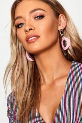 boohoo Gold Chain Contrast Resin Earrings