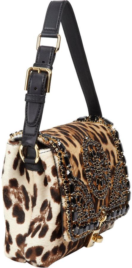Dolce & Gabbana Calf Hair Beaded Miss Dolce Bag