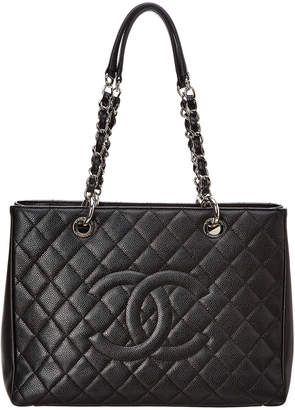 439aec077191 Chanel Black Quilted Caviar Leather Grand Shopping Tote