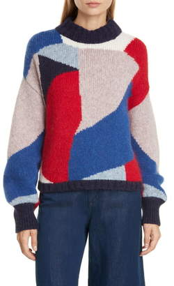 Eleven Paris Six Caroline Colorblock Alpaca & Merino Wool Blend Sweater