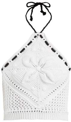 RED Valentino Halterneck Crochet Knit Cotton Cropped Top - Womens - White