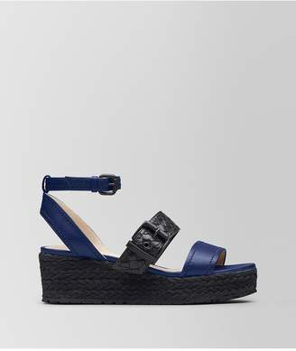 Bottega Veneta Atlantic/Nero Nappa Espadrille Wedge