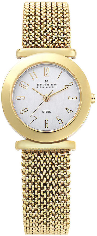 Skagen Denmark Watch, Women's Gold-Tone Stainless Steel Mesh Expansion Bracelet 107SGG1