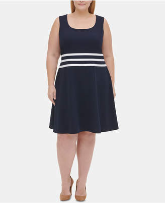 Tommy Hilfiger Plus Size Striped Fit & Flare Dress