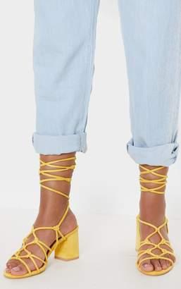 PrettyLittleThing Yellow Block Heel Leg Tie Sandal