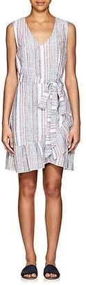 Barneys New York WOMEN'S STRIPED CHAMBRAY WRAP DRESS