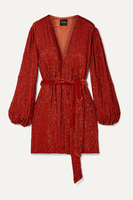 retrofete Gabrielle Velvet-trimmed Sequined Chiffon Mini Wrap Dress - Orange