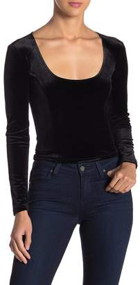 Free Press Velvet Long Sleeve Scoop Neck Crop Top