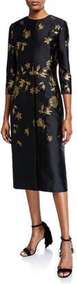 Oscar de la Renta 3/4-Sleeve Floral Embroidered Coat