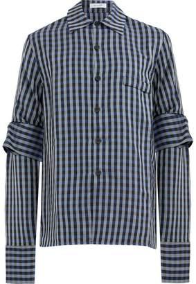 Delada tie detail checked shirt