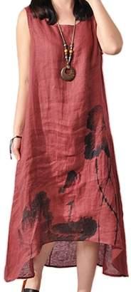 Zilcremo Women Vintage Sleeveless Asymmetric Loose Cotton Linen Maxi Dress Plus Size WineRed L
