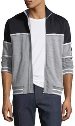 Z Zegna Tricolor Zip-Front Sweater