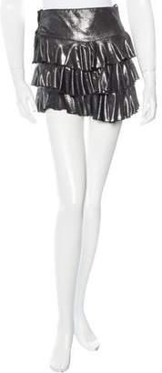 Anna Sui Metallic Ruffle-Trimmed Shorts