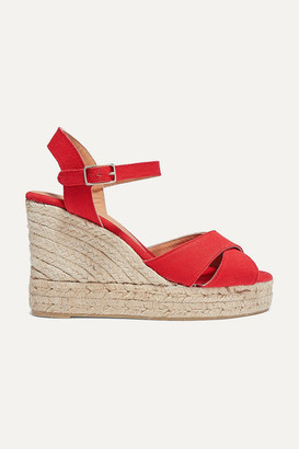 Castaner Blaudel 80 Canvas Wedge Espadrilles - Red