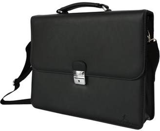 DEERLUX Black Genuine Leather Laptop Briefcase, Mens Business Messenger Bag