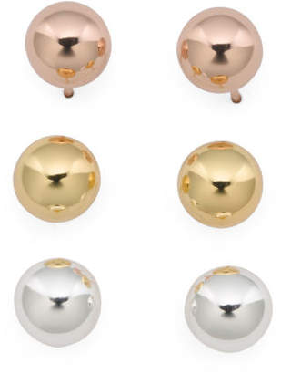 Made In Mexico Sterling Silver Set Of 3 Ball Stud Earrings
