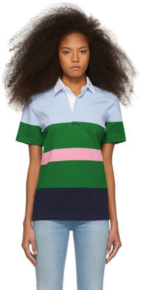 Noah NYC Blue and Green Striped Eddie Polo