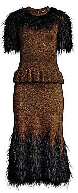 Michael Kors Women's Feather-Embellished Metallic Peplum Dress