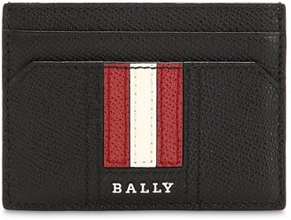 Bally Striped Saffiano Leather Card Holder