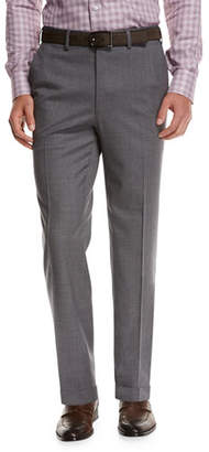 Brioni Micro-Tic Wool Trousers, Gray