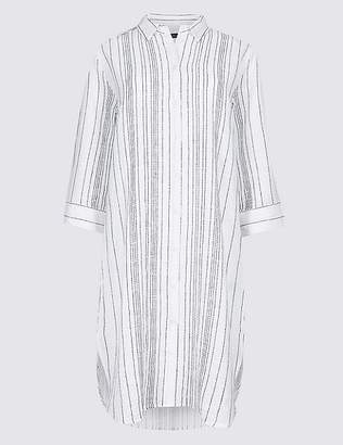 Marks and Spencer Pure Cotton Striped Shirt Dress