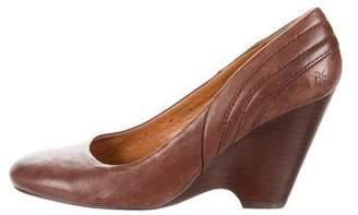Frye Leather Round-Toe Wedges