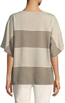 Lafayette 148 New York Sequin-Trim Dolman-Sleeve Sweater