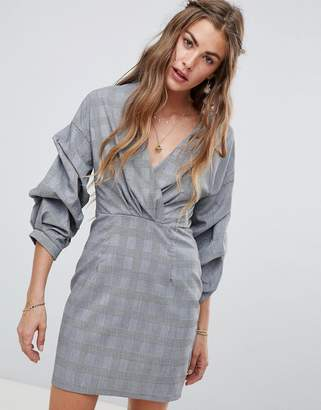 Love & Other Things V Neck Ruched Sleeve Dress