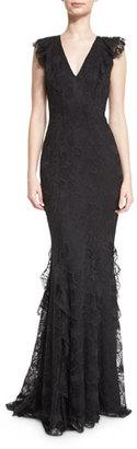 ZAC Zac Posen Sleeveless Lace Ruffle-Trim Mermaid Gown, Black $990 thestylecure.com