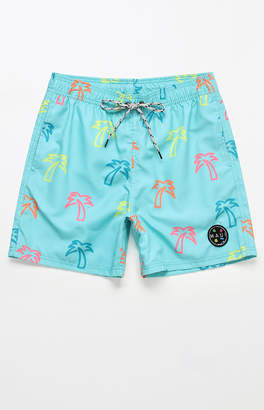 "Maui & Sons Neon Palm 17"" Swim Trunks"