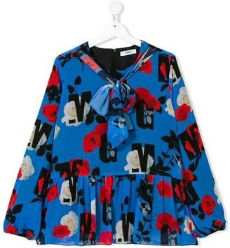 MSGM TEEN rose printed logo blouse