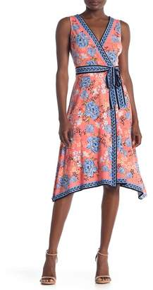London Times Twin Print Tie Waist Dress