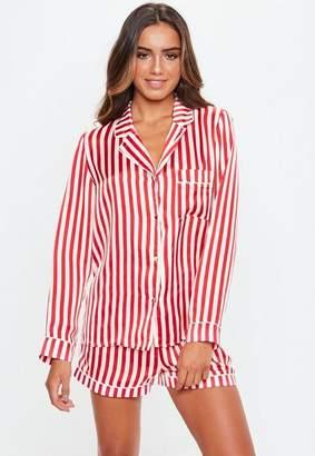 Missguided Red Candy Stripe Satin Pyjama Set