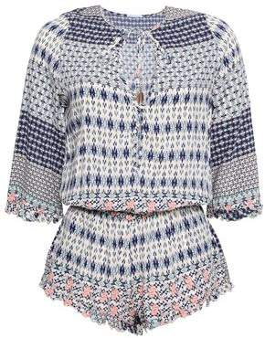Eberjey Gathered Printed Voile Playsuit