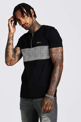 boohoo MAN Muscle Fit Jacquard Zip T-Shirt
