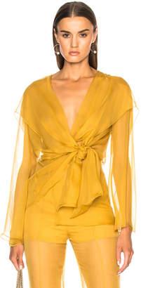 Alberta Ferretti Long Sleeve Wrap Blouse