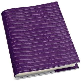 Aspinal of London A5 Refillable Leather Journal In Deep Shine Amethyst Small Croc