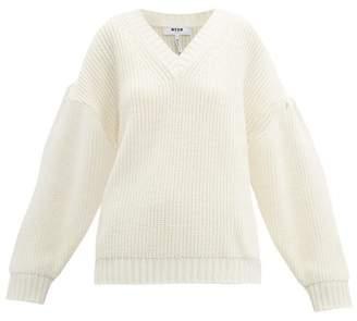 MSGM V Neck Wool Blend Sweater - Womens - Ivory