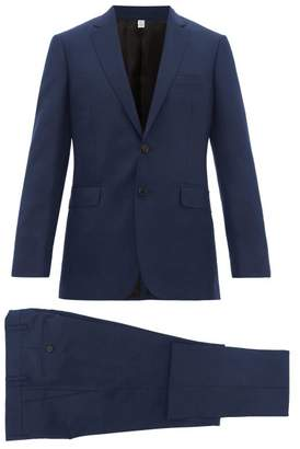 Burberry Tailored Slim Fit Two Piece Wool Blend Suit - Mens - Navy