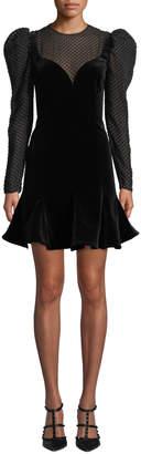 Valentino Strong-Shoulder Long-Sleeve Velvet A-Line Mini Dress