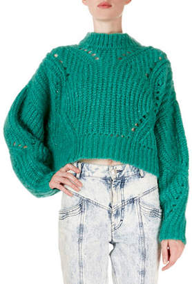 Isabel Marant Irren Mock-Neck Cropped Chunky-Knit Sweater