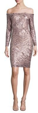 BCBGMAXAZRIA Sequin Off-The-Shoulder Dress $398 thestylecure.com