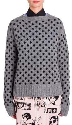 Prada Lana Seta Polka Dot Knit Sweater