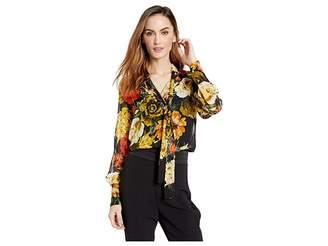 Elliott Lauren Still Life Floral Button Front Shirt with Tie Detail