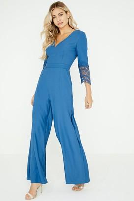 aa1c96f0aab at Little Mistress Little Mistress Dahlia Blue Crochet Lace Jumpsuit
