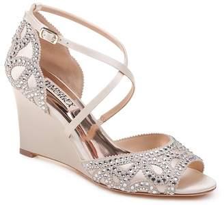 Badgley Mischka Women's Winter Embellished Satin Wedge Sandals