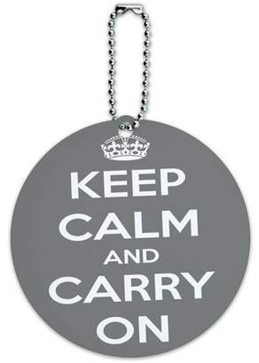 Graphics and More Keep Calm and Carry On Gray Round Luggage ID Tag Card for Suitcase or Carry-On