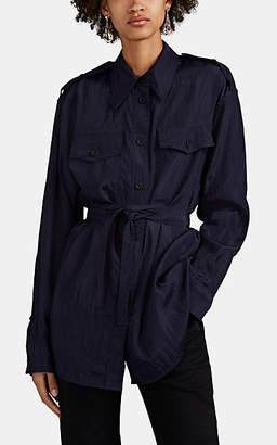 Helmut Lang Women's Crinkled Tech-Poplin Belted Military Shirt - Dk. Blue