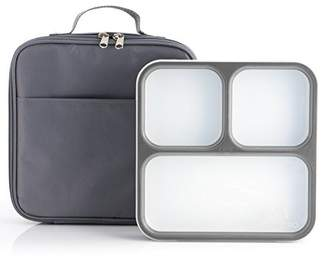 Modetro Ultra Slim Leak Proof Bento Lunchbox with 3 Portion Control Compartments