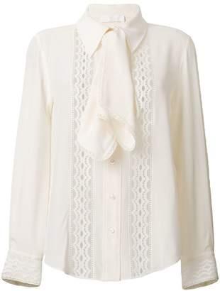 Chloé ruffled lace insert blouse